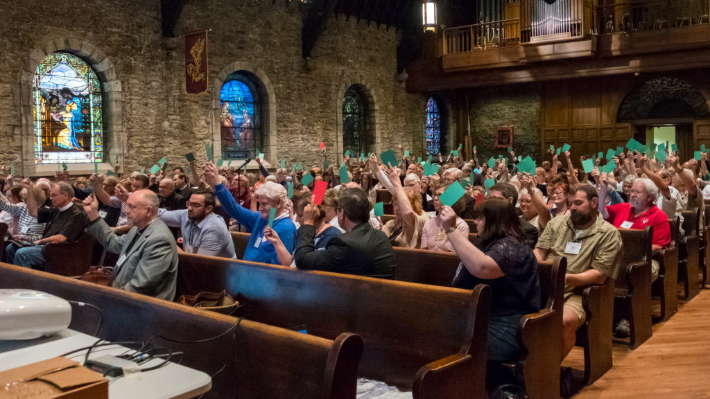 Delegates vote at the Special Convention of The Diocese of West Missouri, June 3, 2017 at Grace and Holy Trinity Cathedral.