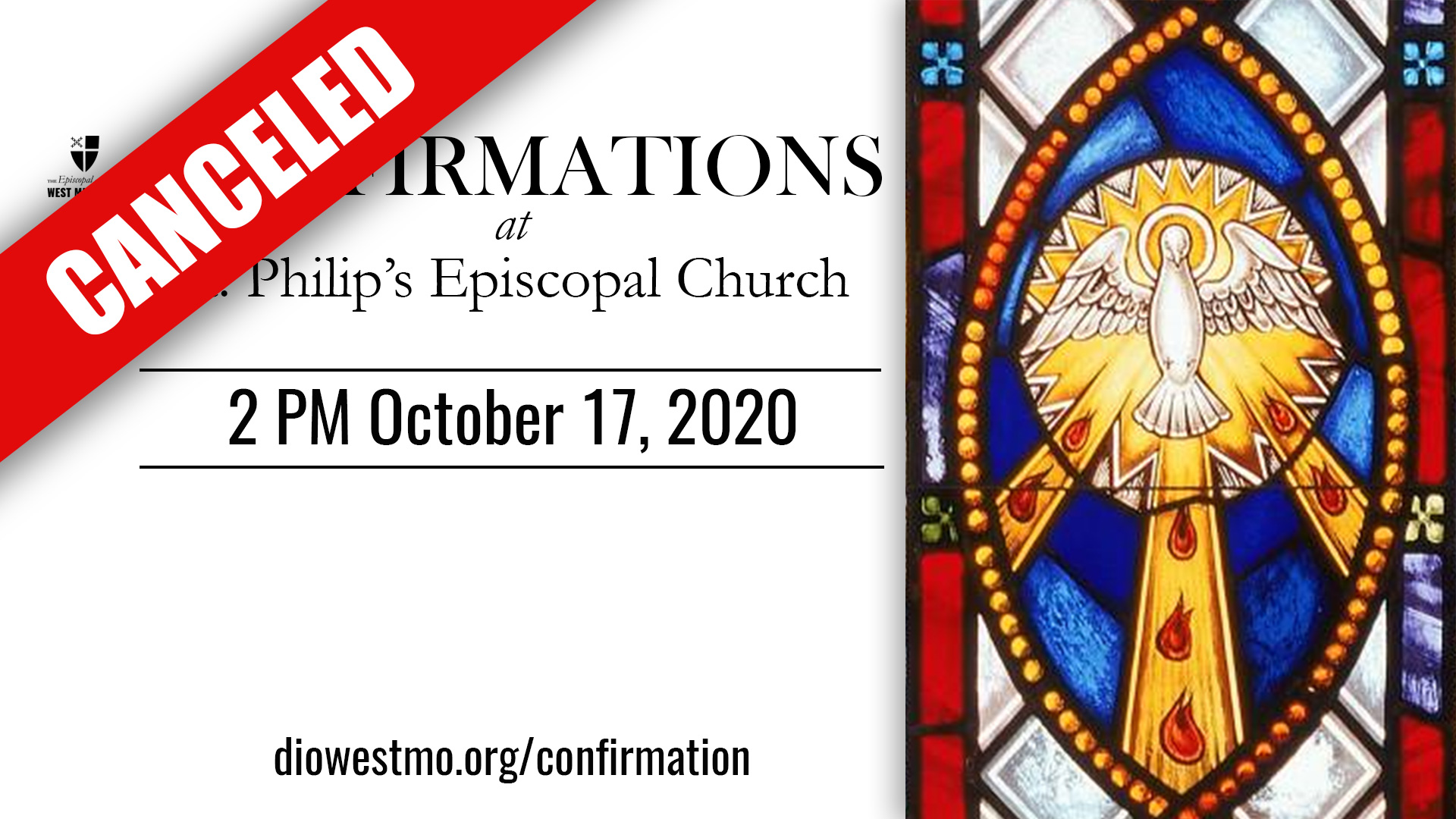 Area Confirmations at St. Philip's, Joplin Canceled