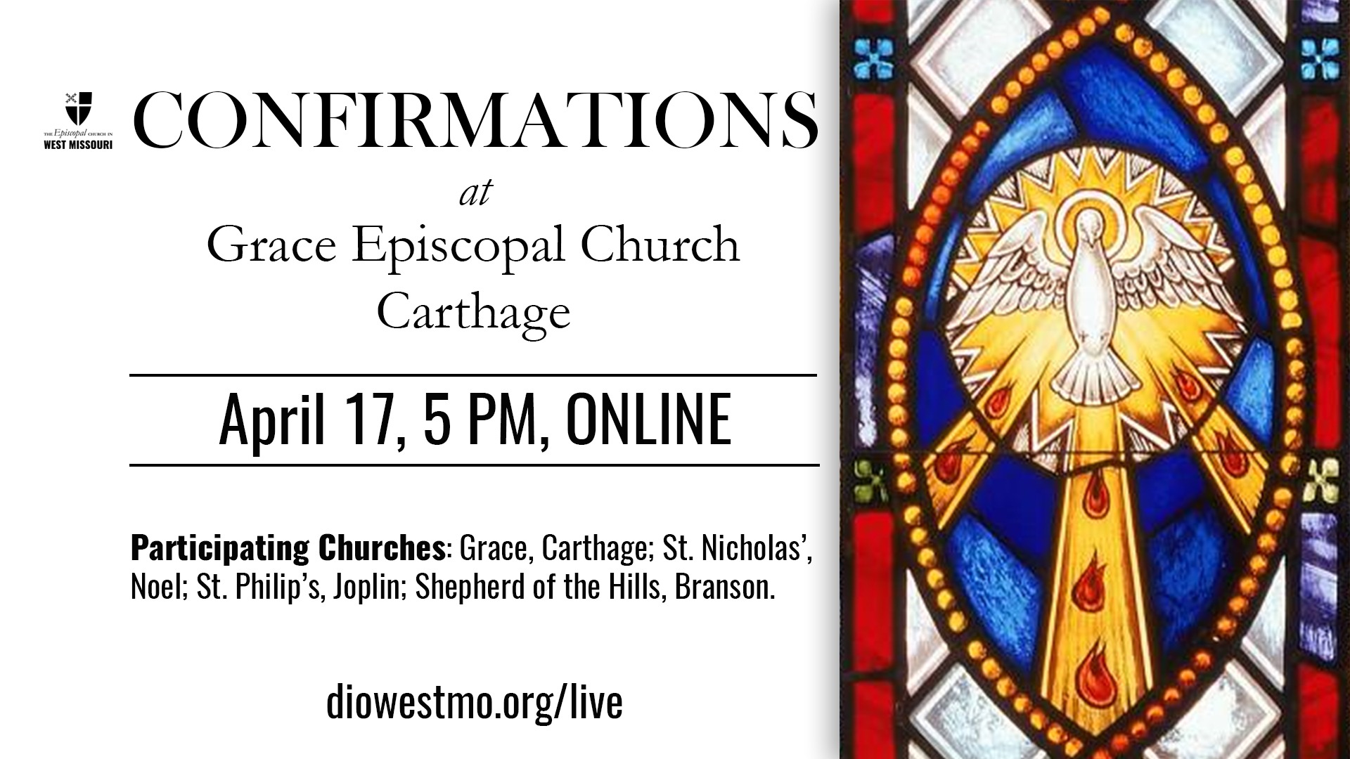 Live Broadcast — Area Confirmations at Grace Episcopal Church, Carthage